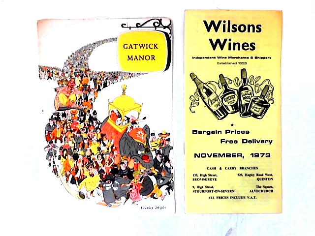 Gatwick Manor Menu & Wilson's Wines Catalogue by Various