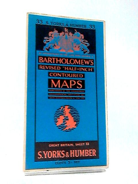 "Revised ""Half-Inch"" Contoured Map of S. Yorks & Humber by Bartholomew"