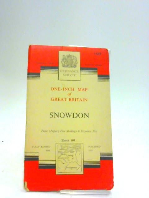 Snowdon. Sheet 107 One-Inch Map of Great Britain, Seventh Series by Ordnance Survey