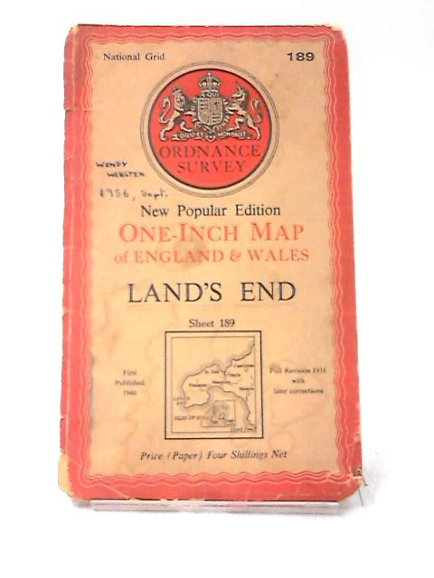 One-Inch Map of England & Wales - Land's End, Sheet 189 by Ordnance Survey