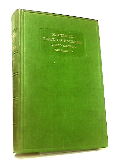 Halsbury's Laws of England Third Edition Volume 29 by The Earl of Halsbury