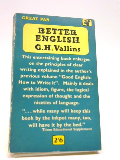 Better English (Great Pan) by Vallins, G.H