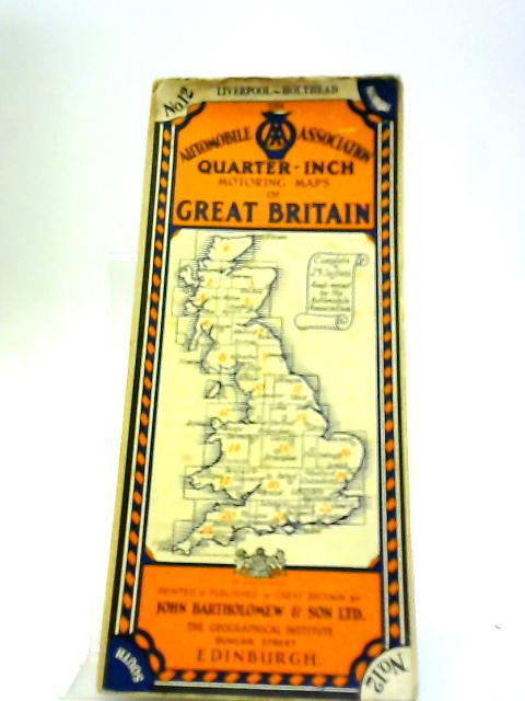 Automobile Map Of Great Britain Sheet 12 Liverpool to Holyhead. (Quarter inch) by Anon
