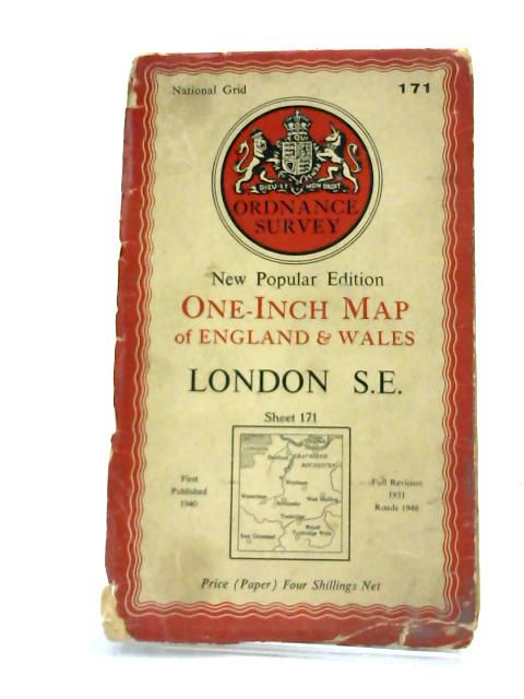 London S.E.. Sheet 171 One-Inch Map of England & Wales by Ordnance Survey