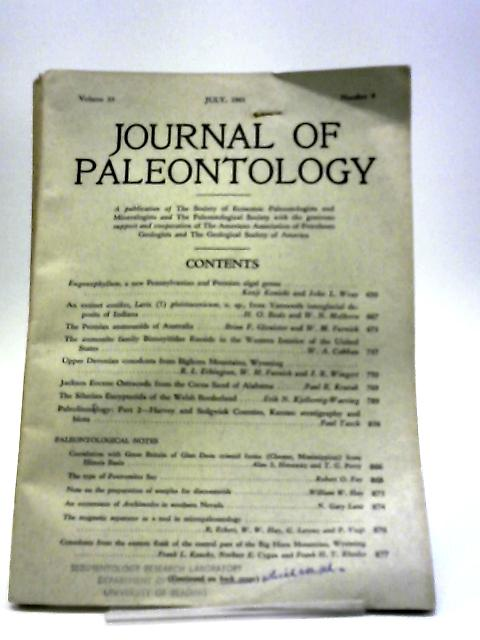 Journal of Paleontology July 1961 by Various