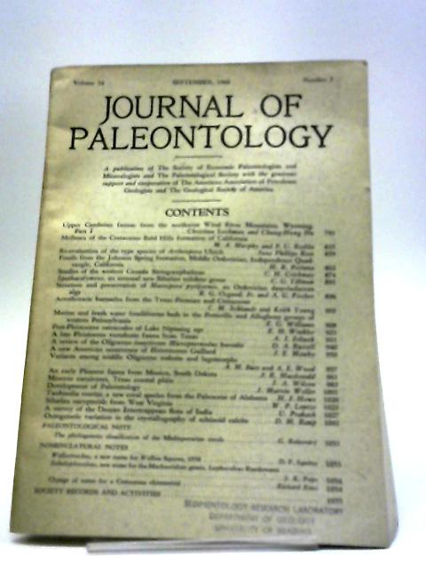 Journal of Paleontology September 1960 by Various