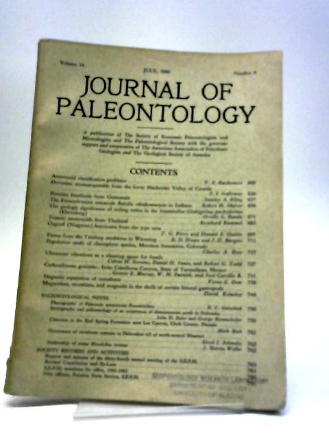 Journal of Paleontology July 1960 By Various