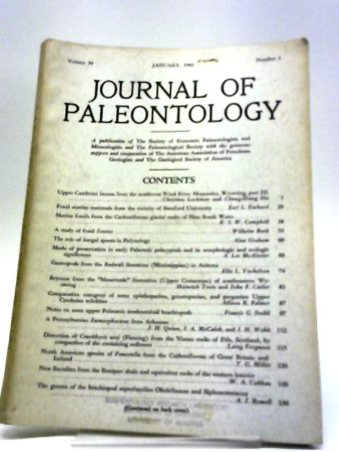 Journal of Paleontology January 1962 by Various
