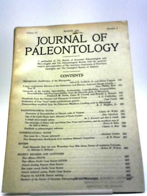 Journal of Paleontology March 1961 By Various