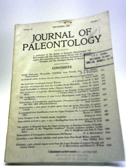 Journal of Paleontology September 1961 by Various