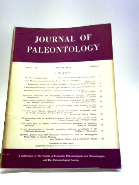 Journal of Paleontology January 1974 By Various