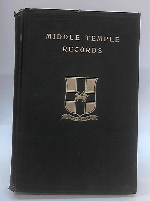 Middle Temple records Volume 3 - english by Hopwood