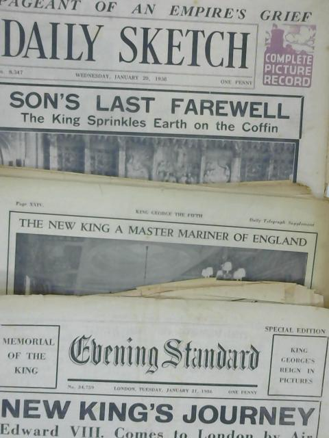 4 x Newspapers King George V Funeral 2 x 21st Jan 1936 2 x 29th Jan 1936 By Various