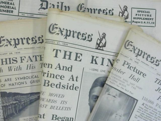 5 x Newspapers Death Of King George V Jan 1936 by Various