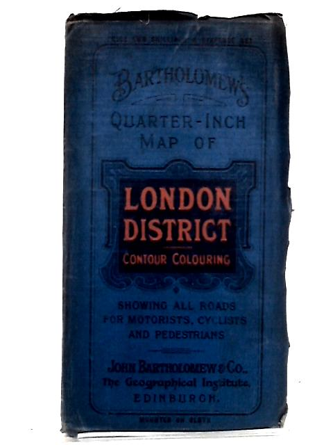 London District Contour Colouring, Quarter Inch Map by Bartholomew