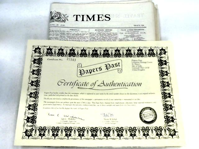 The Times Newspaper with Certificate of Authentication By Anon