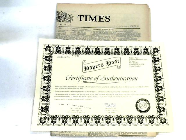 The Times Newspaper with Certificate of Authentication By The Times