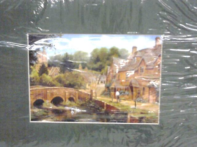 Art Print of a Watercolour Village Scene by Anon