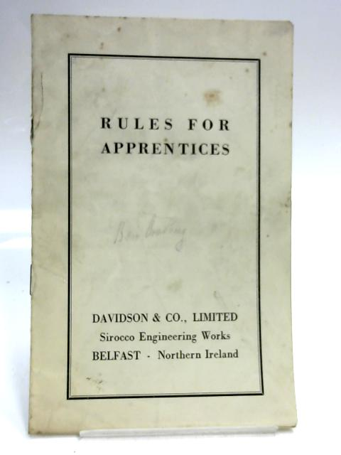 Rules for Apprentices 1960's Pamphlet by Anon