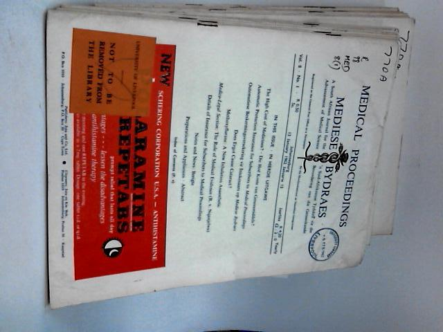 Medical proceedings mediese bydraes volume 8 (x 25 issues) jan to dec 1962 By Various