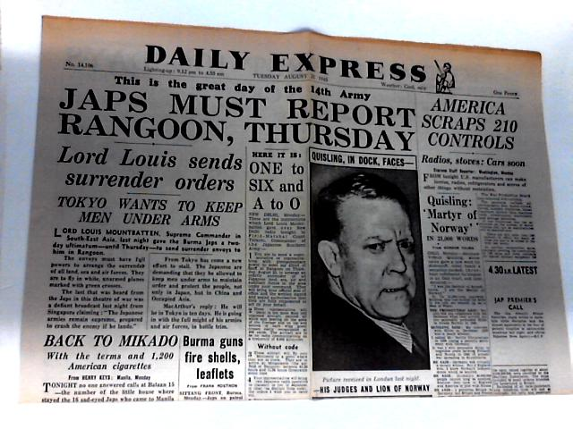 Daily Express Dated Tuesday August 21 1945 by Unknown