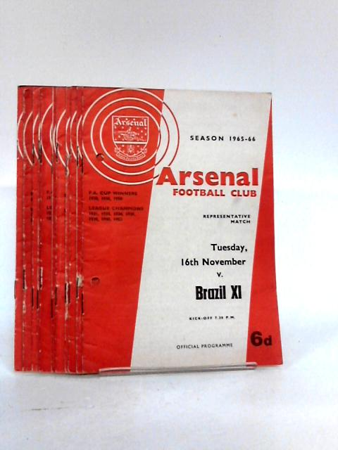 Arsenal Football Club Match Programme`s From Season 1965 to 1966. by Unknown