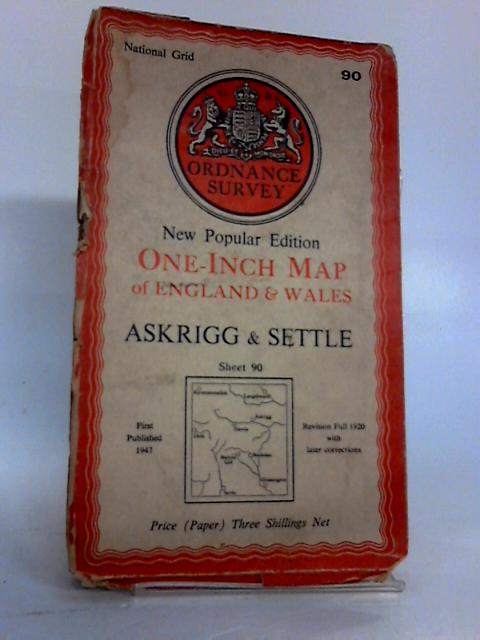 Ordnance Survey New Popular Edition One-Inch Map of England and Wales : Askrigg & Settle Sheet 90 Cloth by Unknown