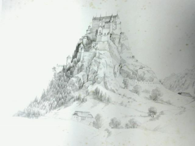 Pencil Drawing of Building on a Hill By Unknown