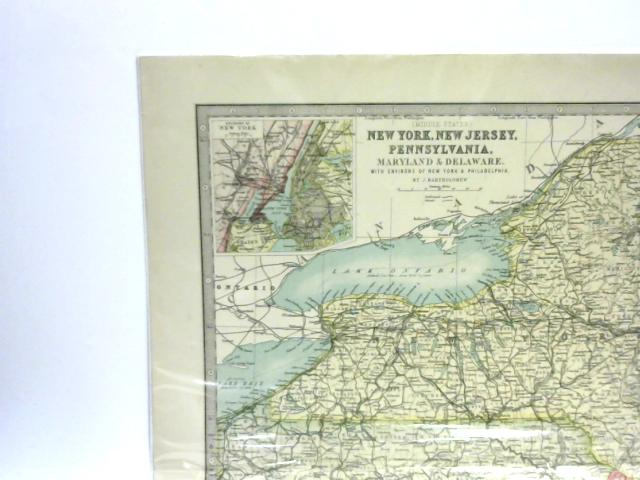 Map Of New York New Jersey And Pennsylvania By J Bartholomew