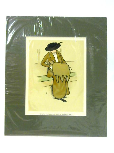 Woman and Dog - Art Print with Green Mount by Cecil Aldin