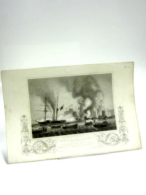 B&W Print of Destroying the Chinese War Junks in Ansons Bay by Anon