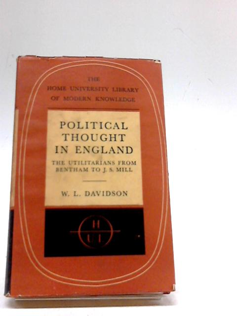 Political Thought In England By William L Davidson Used