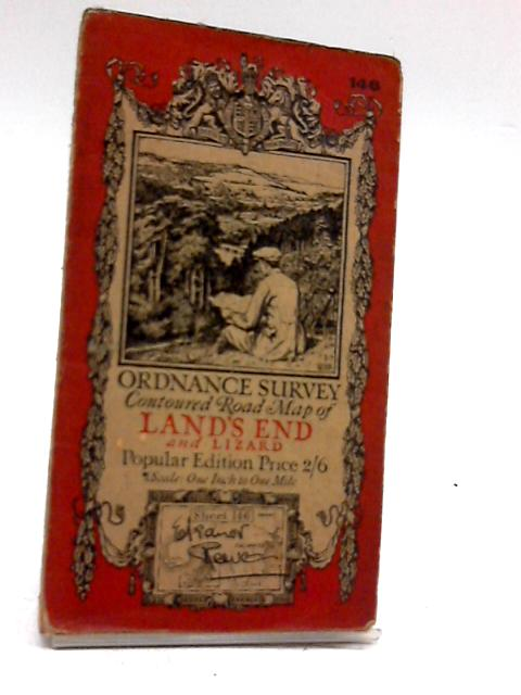 Ordnance Survey Contoured Road Map of Lands End and Lizard by Unknown