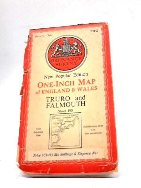 Ordnance Survey New Popular Edition One-Inch Map of England & Wales Truro and Falmouth Sheet 190 by Ordnance Survey