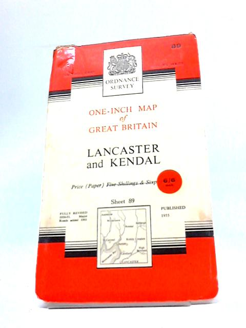 One Inch Map of Lancaster and Kendal, sheet 89, on cloth By Ordnance Survey of Great Britain