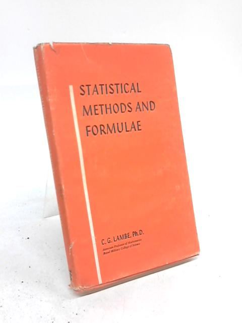 Statistical Methods And Formulae By C G Lambe