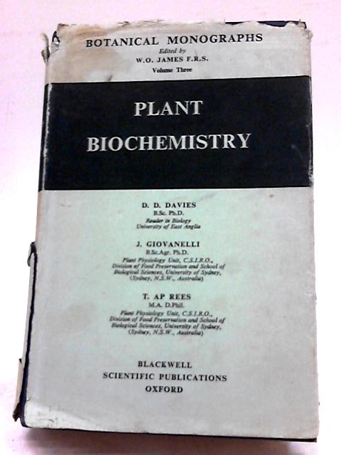 Plant Biochemistry (Botanical Monographs Volume Three) by Various