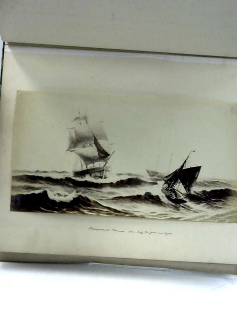 Half Bound Leather Decorative book with 13 B&W Plates of Various Sea Scenes By Unknown