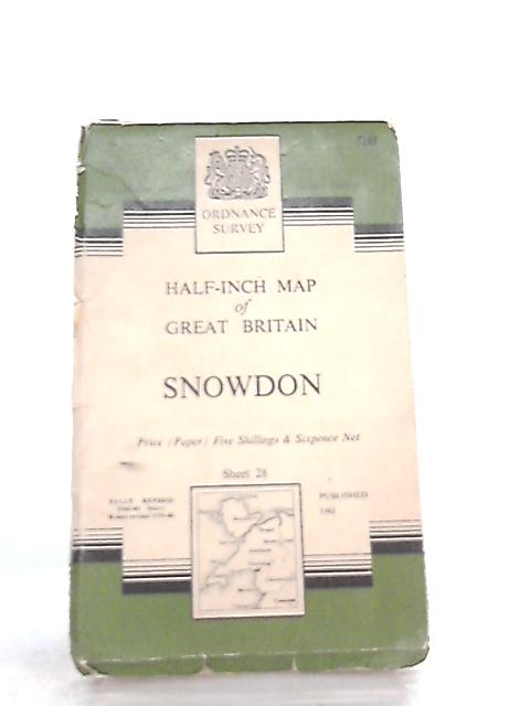 Half-Inch Map of Great Britain Sheet 28 Snowdon By Anon