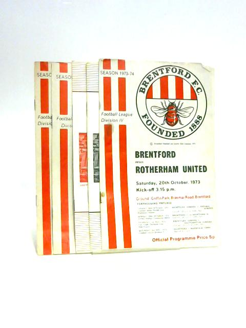 Set of Five 1970s Brentford FC Programmes By Unknown