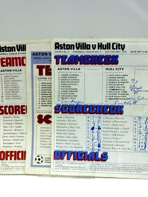 3x Official Matchday Magazines of Aston Villa Football Club by Midland Sports Magazine