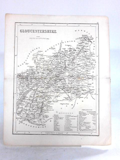 Vintage Fold out Book Plate Map of Gloucestershire Black and White By Anon