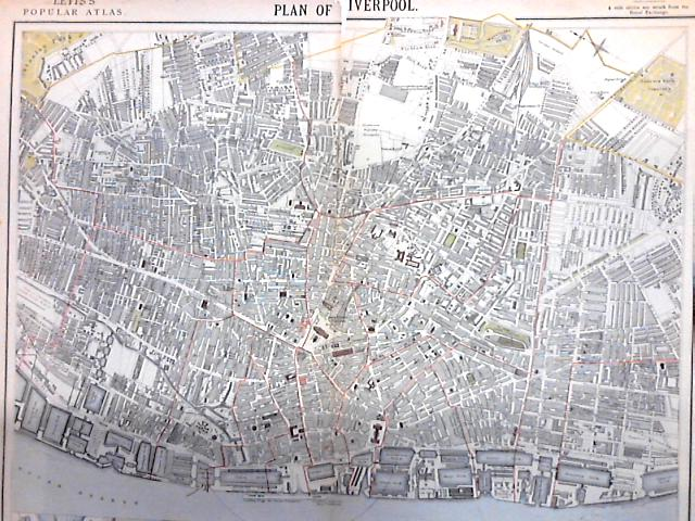 Vintage Fold out colour plate of a Plan of Liverpool by Anon