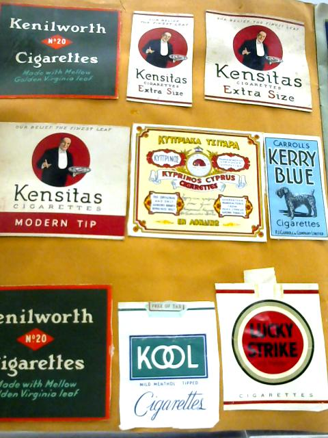 Vintage Scrap Book of Cigarette Packets and Cards (24 pages) with loose cards and packets. by Unknown