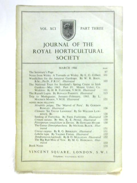 Journal of the Royal Horticultural Society Vol. 91 Part 3 By Unknown