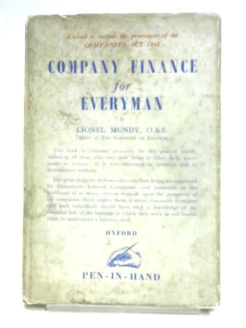 Company Finance for Everyman by Lionel Mundy