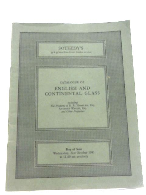 English And Continental Ceramics And Glass: 21st October, 1981 By Anon