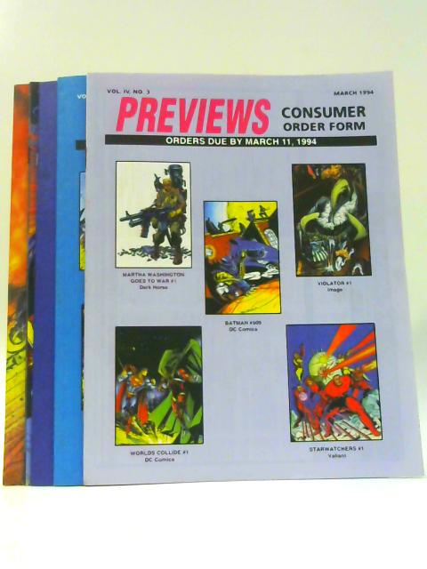 Previews Consumer Order Forms Vol IV Nos. 3-7 March-July 1994 By Unknown