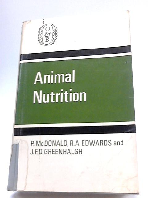 Animal Nutrition By P. McDonald
