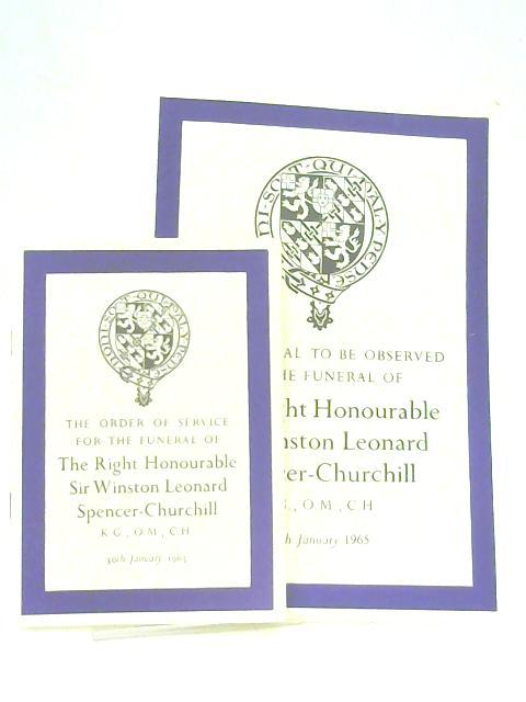 The Order of Service for & Ceremonial to be Observed at the Funeral of the Right Honourable Sir Winston Leonard Spencer-Churchill, 30th January 1965 by